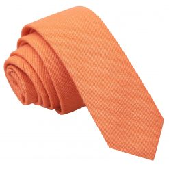 Light Orange Ottoman Wool Skinny Tie