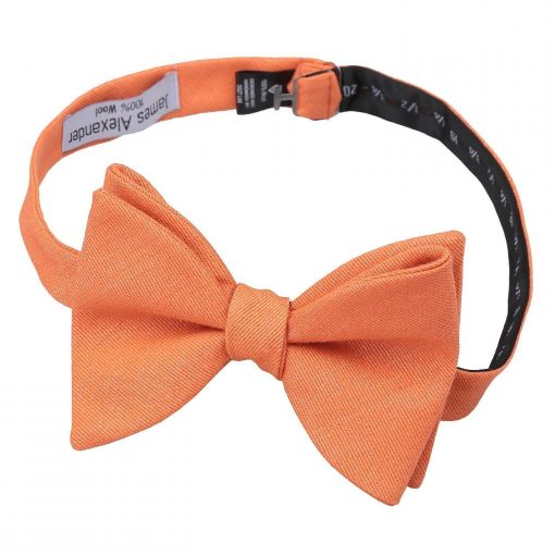 Light Orange Ottoman Wool Butterfly Self Tie Bow Tie
