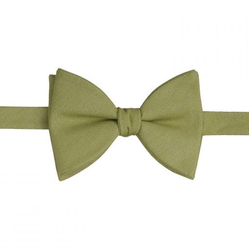 Olive Green Ottoman Wool Butterfly Self Tie Bow Tie