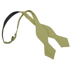 Olive Green Ottoman Wool Pointed Self Tie Bow Tie