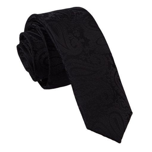 Black Paisley Skinny Tie