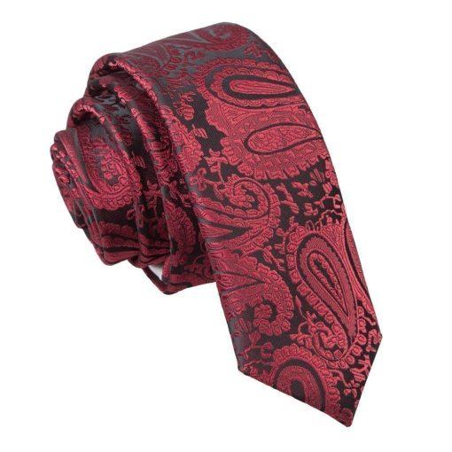 Burgundy Paisley Skinny Tie