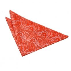 Burnt Orange Paisley Pocket Square