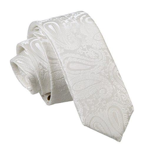 Ivory Paisley Skinny Tie