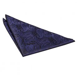 Navy Blue Paisley Pocket Square
