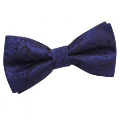 Navy Blue Paisley Pre-Tied Bow Tie