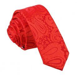 Red Paisley Skinny Tie