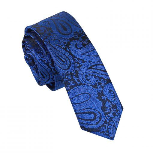 Royal Blue Paisley Skinny Tie