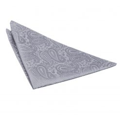 Silver Paisley Handkerchief / Pocket Square
