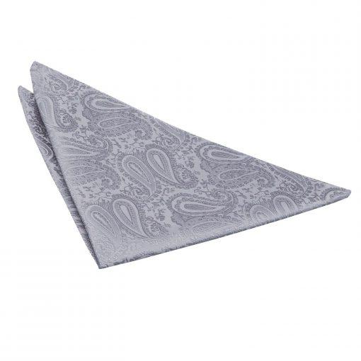Silver Paisley Handkerchief / Pocket Square