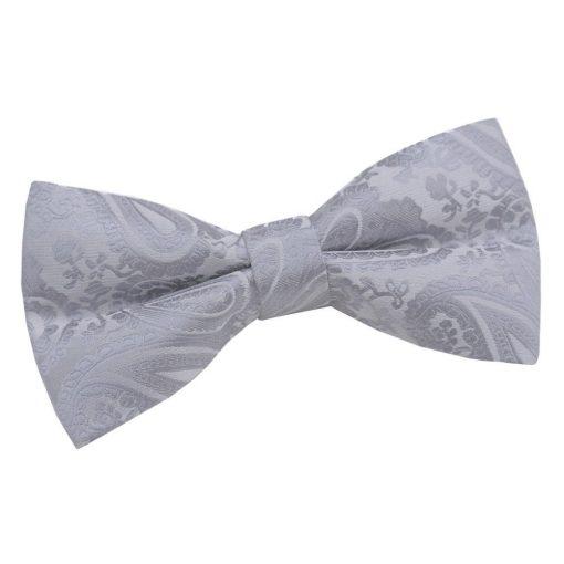Silver Paisley Pre-Tied Bow Tie