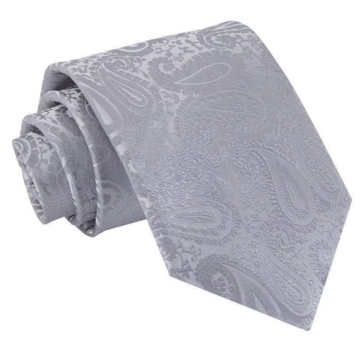 Silver Paisley Classic Tie