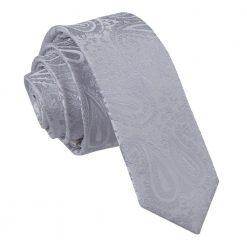 Silver Paisley Skinny Tie