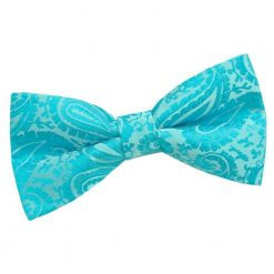 Turquoise Paisley Pre-Tied Bow Tie