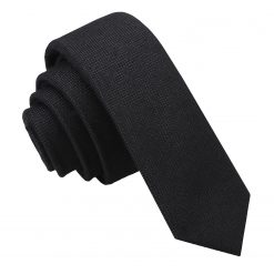 Black Panama Cashmere Wool Skinny Tie