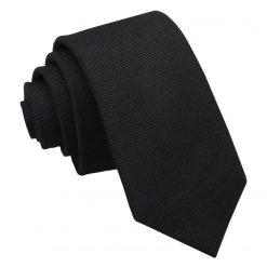 Black Panama Cashmere Wool Slim Tie