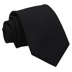 Black Panama Cashmere Wool Classic Tie
