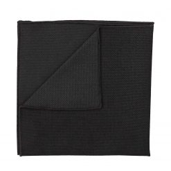 Black Panama Cashmere Wool Pocket Square