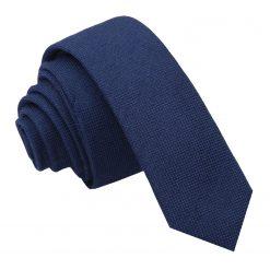 Navy Blue Panama Cashmere Wool Skinny Tie