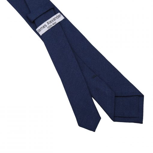 Navy Blue Panama Cashmere Wool Slim Tie