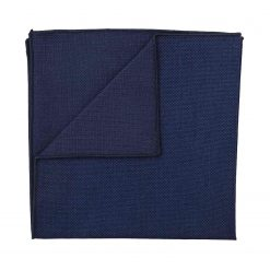 Navy Blue Panama Cashmere Wool Handkerchief / Pocket Square