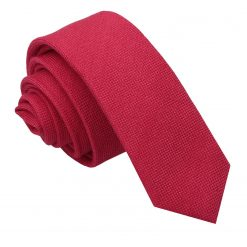 Scarlet Red Panama Cashmere Wool Skinny Tie