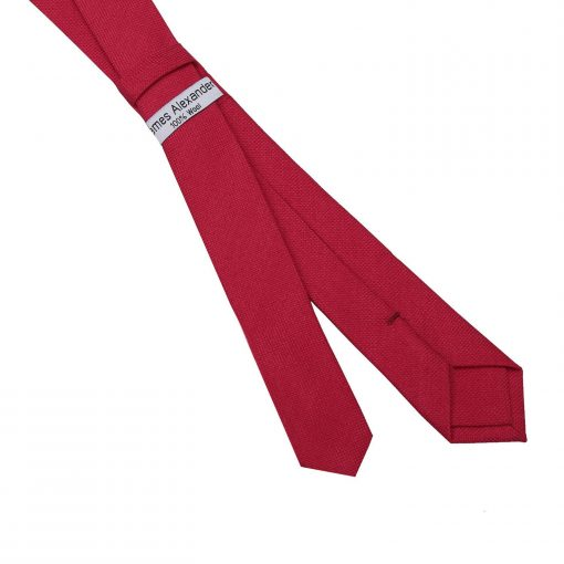Scarlet Red Panama Cashmere Wool Skinny Tie