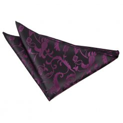 Black & Purple Floral Pocket Square