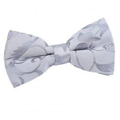 Silver Floral Pre-Tied Bow Tie