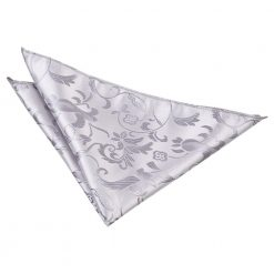Silver Floral Handkerchief / Pocket Square