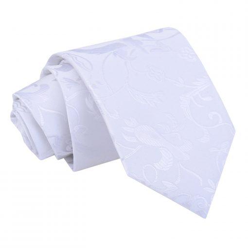 White Floral Classic Tie