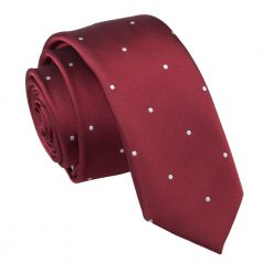 Burgundy Pin Dot Skinny Tie