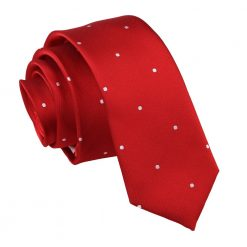 Dark Red Pin Dot Skinny Tie
