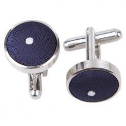 Navy Blue Pin Dot Cufflinks