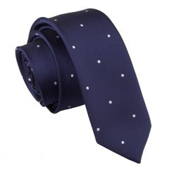 Navy Blue Pin Dot Skinny Tie