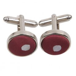 Burgundy Polka Dot Cufflinks