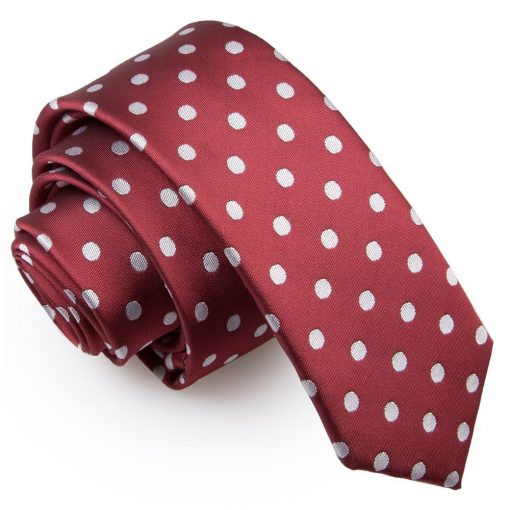 Burgundy Polka Dot Skinny Tie