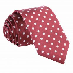 Burgundy Polka Dot Slim Tie