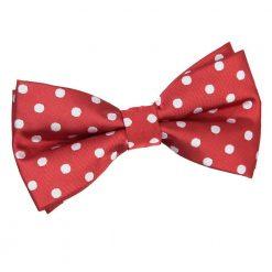 Dark Red Polka Dot Pre-Tied Bow Tie