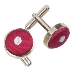 Dark Red Polka Dot Cufflinks