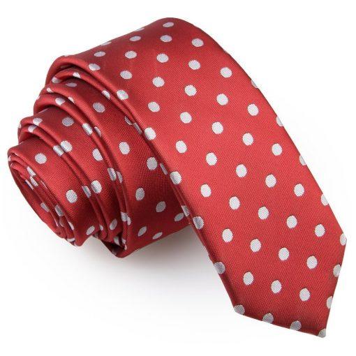Dark Red Polka Dot Skinny Tie