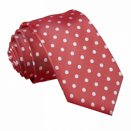 Dark Red Polka Dot Slim Tie