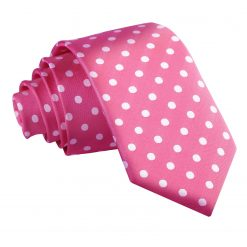 Hot Pink Polka Dot Slim Tie