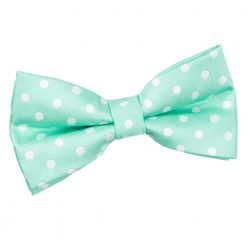 Mint Green Polka Dot Pre-Tied Bow Tie