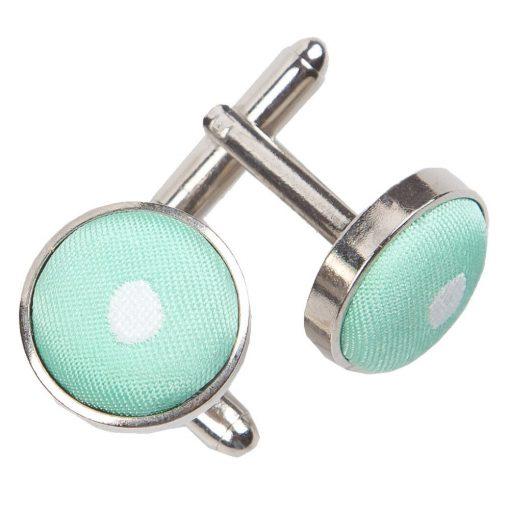 Mint Green Polka Dot Cufflinks