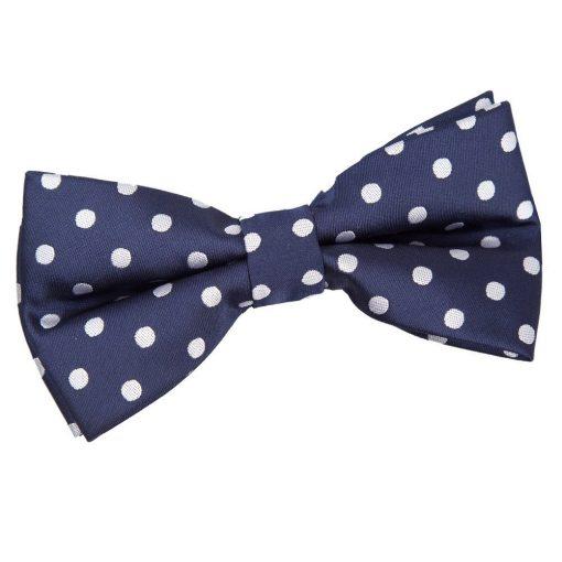 Navy Blue Polka Dot Pre-Tied Bow Tie