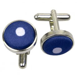 Navy Blue Polka Dot Cufflinks