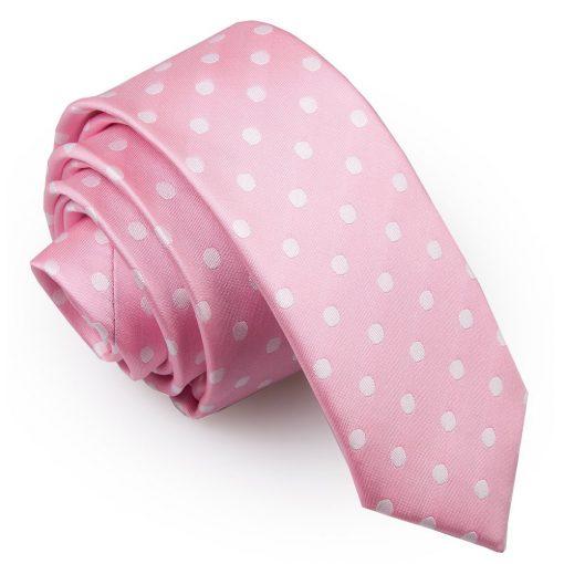 Pink Polka Dot Skinny Tie