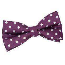 Purple Polka Dot Pre-Tied Bow Tie
