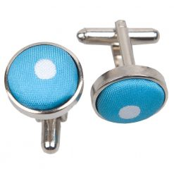 Robin's Egg Blue Polka Dot Cufflinks